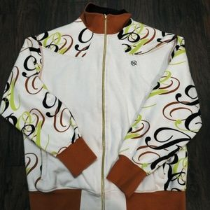 Men's RocaWear Track Jacket Sz XL Cream Lime Green